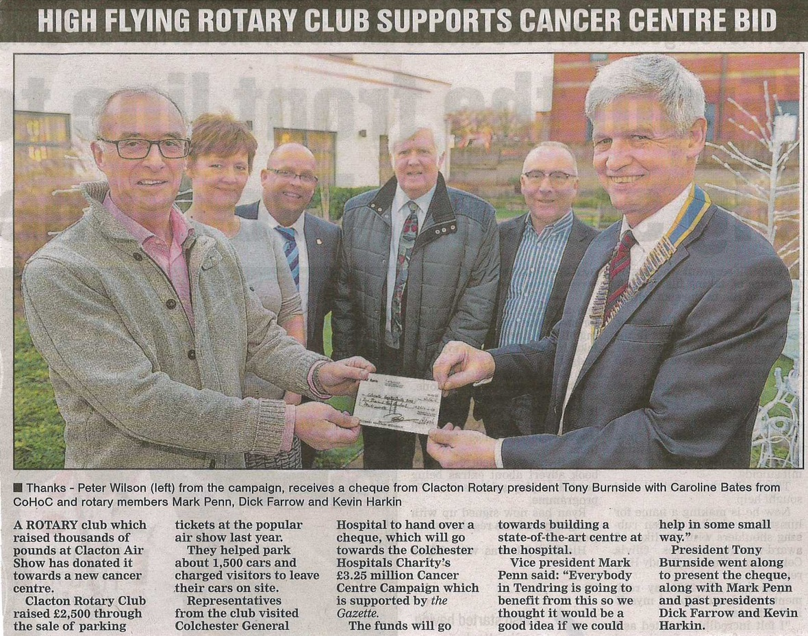 Clacton Rotary Club Supports Cancer Centre Bid